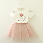 Little Girls Kitten Printed Dress Outfit