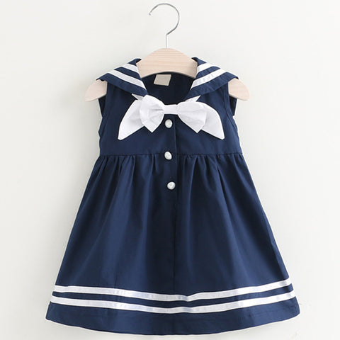 Little Girl's Navy Blue & White  Uniform Short Sleeve Bow Dress