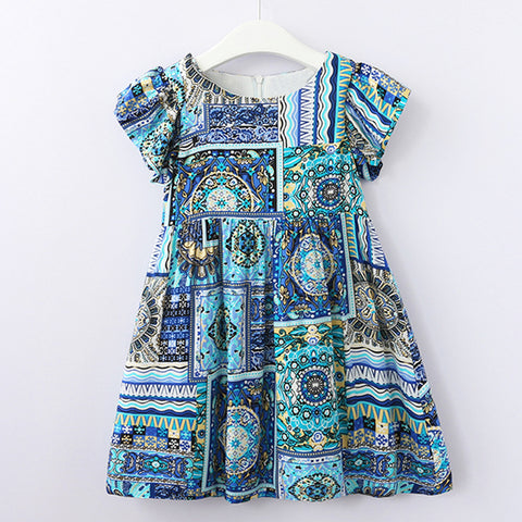 B Summer Dress 2018 New European And American Style Girls Printed Pattern Sleeveless Dress For 3-8Y Baby Dresses