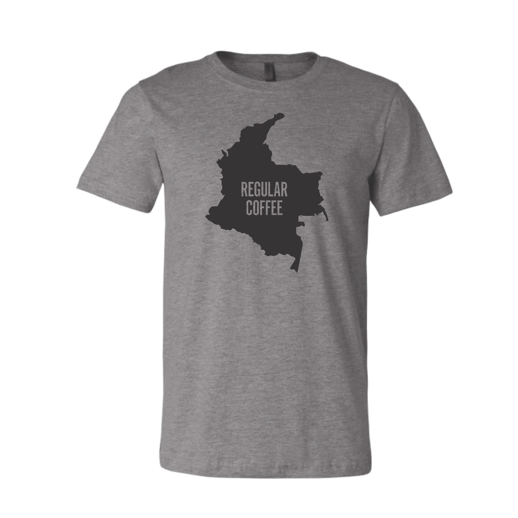 Regular Coffee Colombia Map T-Shirt — Grey