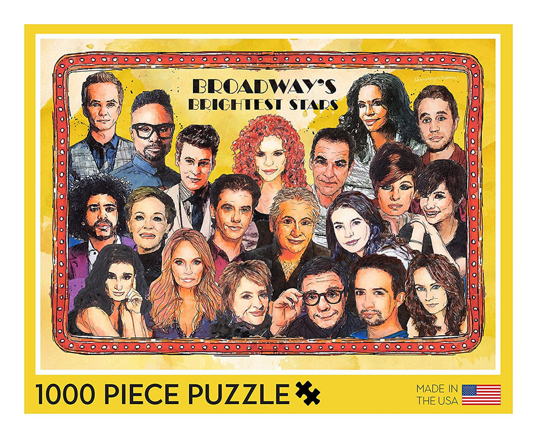 Broadway's Brightest Stars Puzzle - 1000 Piece Jigsaw Puzzle Featuring Watercolor Portraits of Broadway Stars