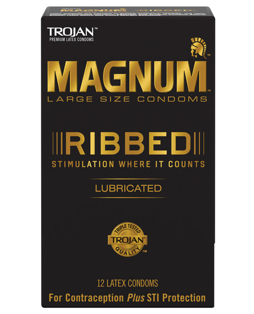 Trojan Magnum Ribbed Condoms - Box Of 12