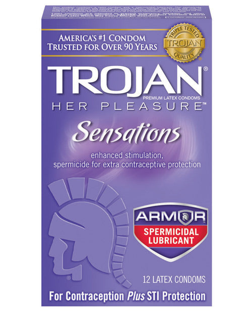 Trojan Her Pleasure Spermicidal Lubricant Condoms - Box Of 12