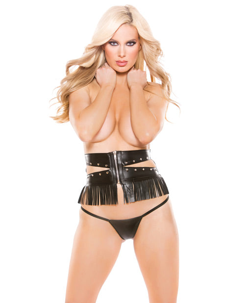 Naughty Faux Leather Underbust Waist Cincher with G-string