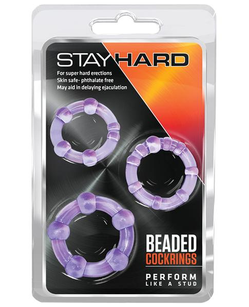 Blush Stay Hard Beaded Cock Rings 3 Pack