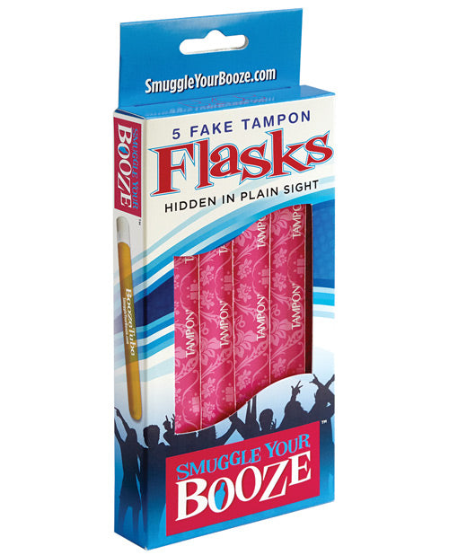 Smuggle Your Booze Tampon Box W-5 Tubes & 5 Wrappers - Pink