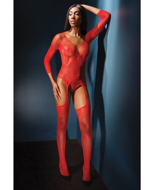 Sleek Seamless Stretch Net Long Sleeve Teddy with Attch. Stockings
