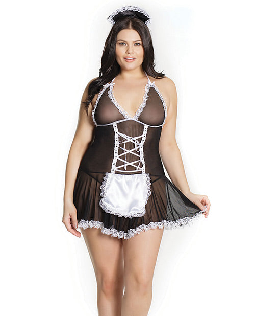 Fashion French Maid Chemise with Attached Apron & Headpiece