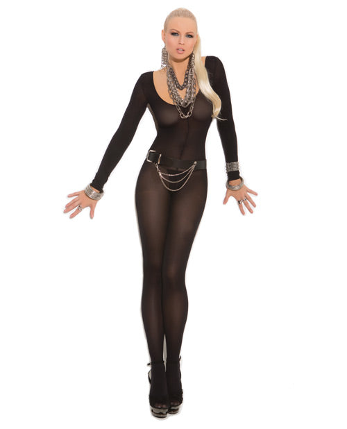 Opaque Long Sleeve Bodystocking with Open Crotch