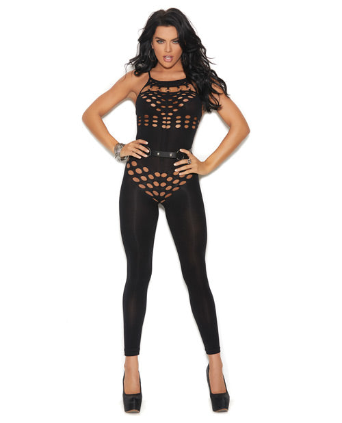 Vivace Opaque Halter Neck Bodystocking with Cut Out Detailing