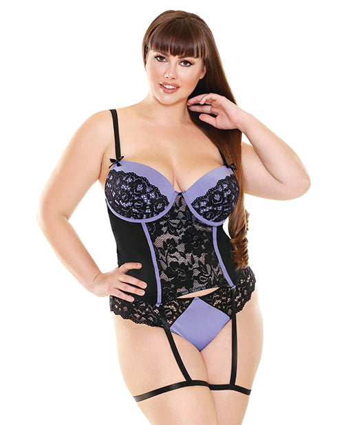 Curve Lisette Lace Bustier with Attached Leg Garters & Panty