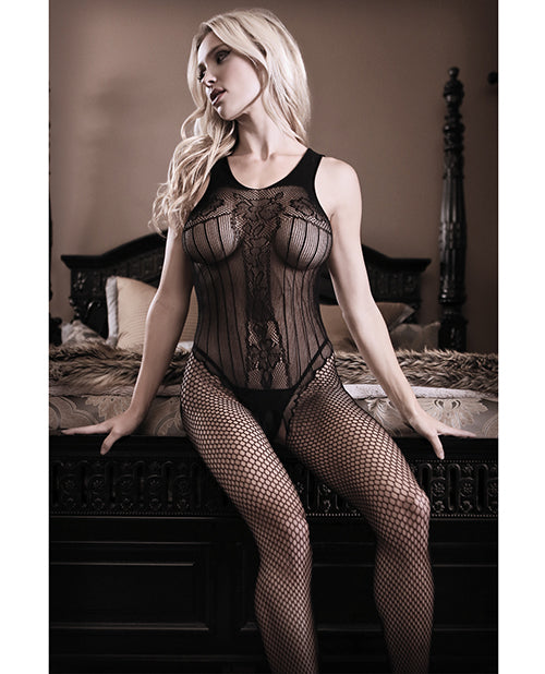 Sheer Fantasy Fishnet Bodystocking with Criss Cross Back Detail