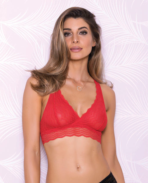 Lace Bralette W-racerback Detail & Mesh Lining Red Xl
