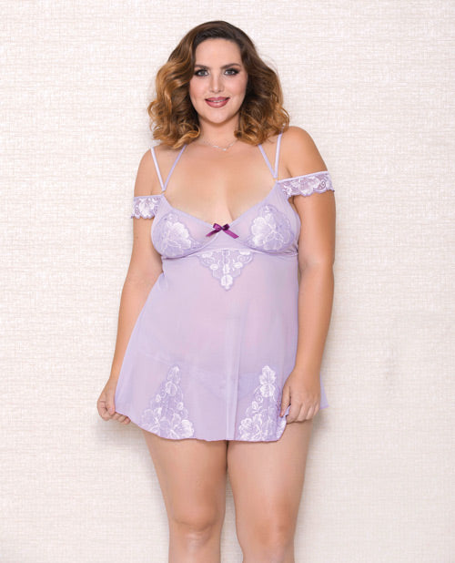 Lace and Mesh off the Shoulder Babydoll with Soft Cups