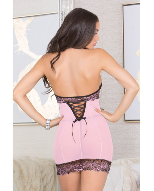 Lace & Mesh Chemise W-lace Soft Cups, Adjustable Halter Tie & G-string Pink-black Xl