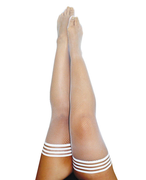 Kix'ies Sammy Fishnet Thigh High White D