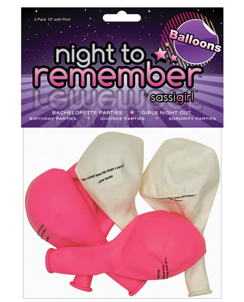 "Night To Remember 10"" Balloons W-print - Pack Of 5 By Sassigirl"