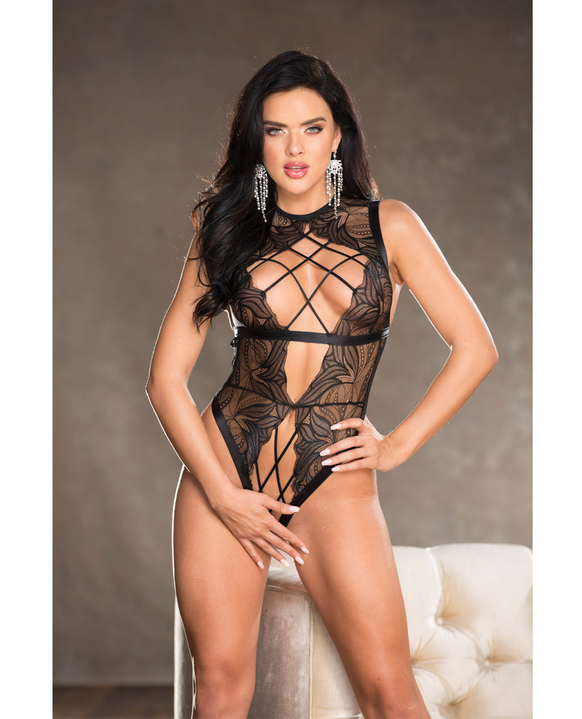Lace Strappy Elastic Open Front Teddy
