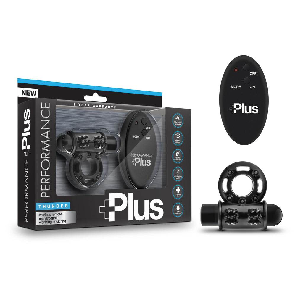 Performance Plus Thunder Wireless Remote  Rechargeable Vibrating Black Cock Ring