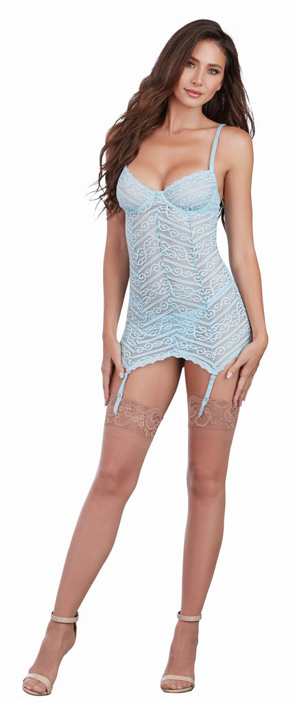 Striped Lace Garterslip with G-String