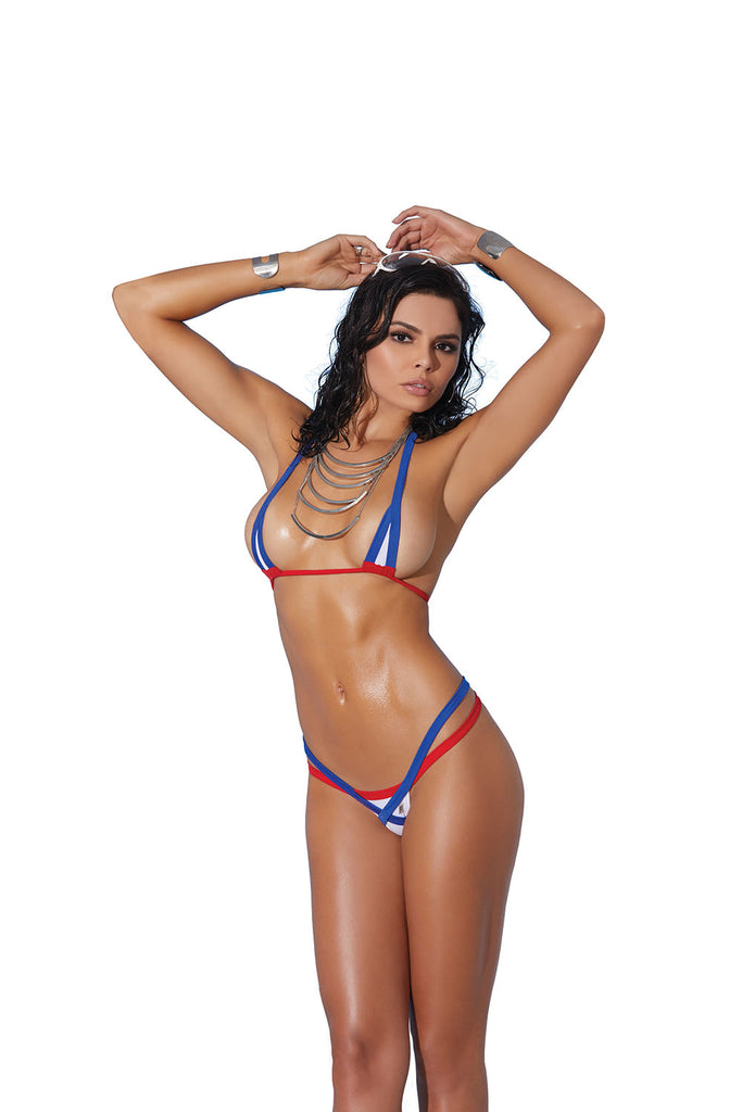 Lycra Bikini Top and Matching G-String With Contrast Trim