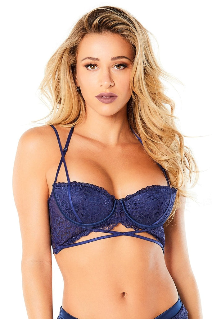 Lace Push Up Balconette Bra With Crossing Halter Straps