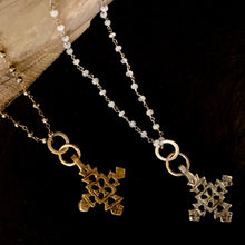 The Cross Necklace - Pyrite or Moonstone