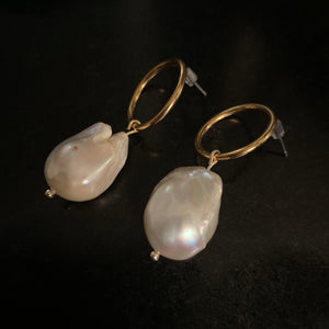 The Carly - Gold or Silver Pearl Drop Earrings