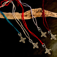 The  Mary - Silk & Cross Adjustable Necklace