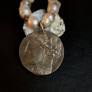 The Carrie - Baroque Necklace Oyster or Coin Pendant