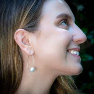 White Round Pearl Earrings