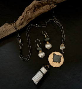 Gunmetal Y Necklace with Tassel & Champagne Pearl