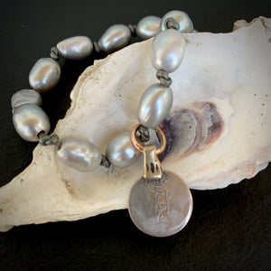 The Kacey - Oblique Grey Pearl Bracelet / Choker / Necklace