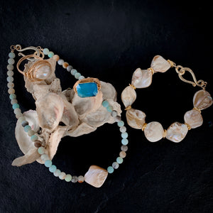 The Lana - Amazonite & Pearl Choker