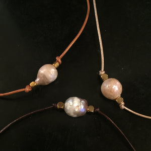 The Jessie - Leather Pearl Choker with Brass Beads