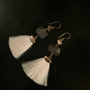 Grey opal with white tassel