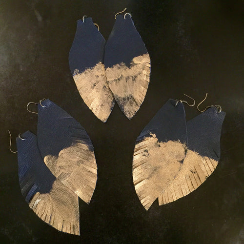 Leather Feather Earrings - Navy