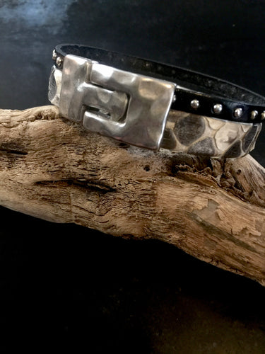 The Dierks - White Python & Studded Leather with T clasp