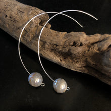 Faceted Grey Pearl Earrings