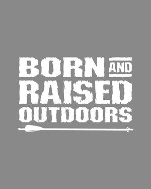 BORN AND RAISED - DECAL - WHITE