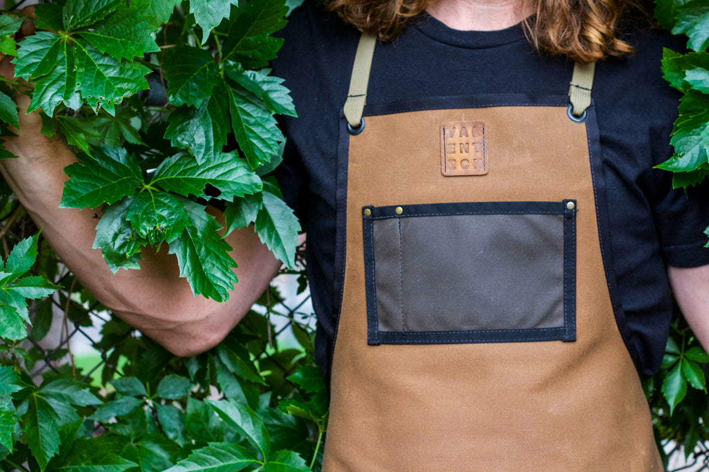 Valentich Goods Waxed Canvas Cross-Back Work Aprons