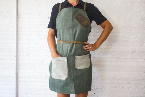 Custom Denim & Leather Bartender Apron