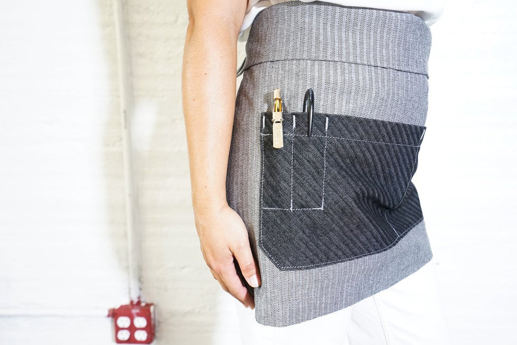 Bistro Server Apron - Grey + Black Herringbone - Valentich Goods