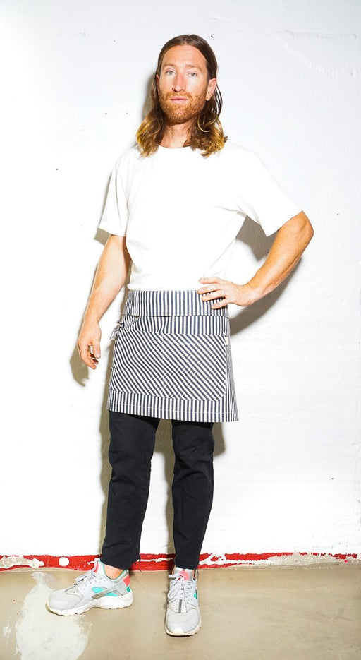 Bistro Server Apron - Indigo & Cream Striped - Valentich Goods