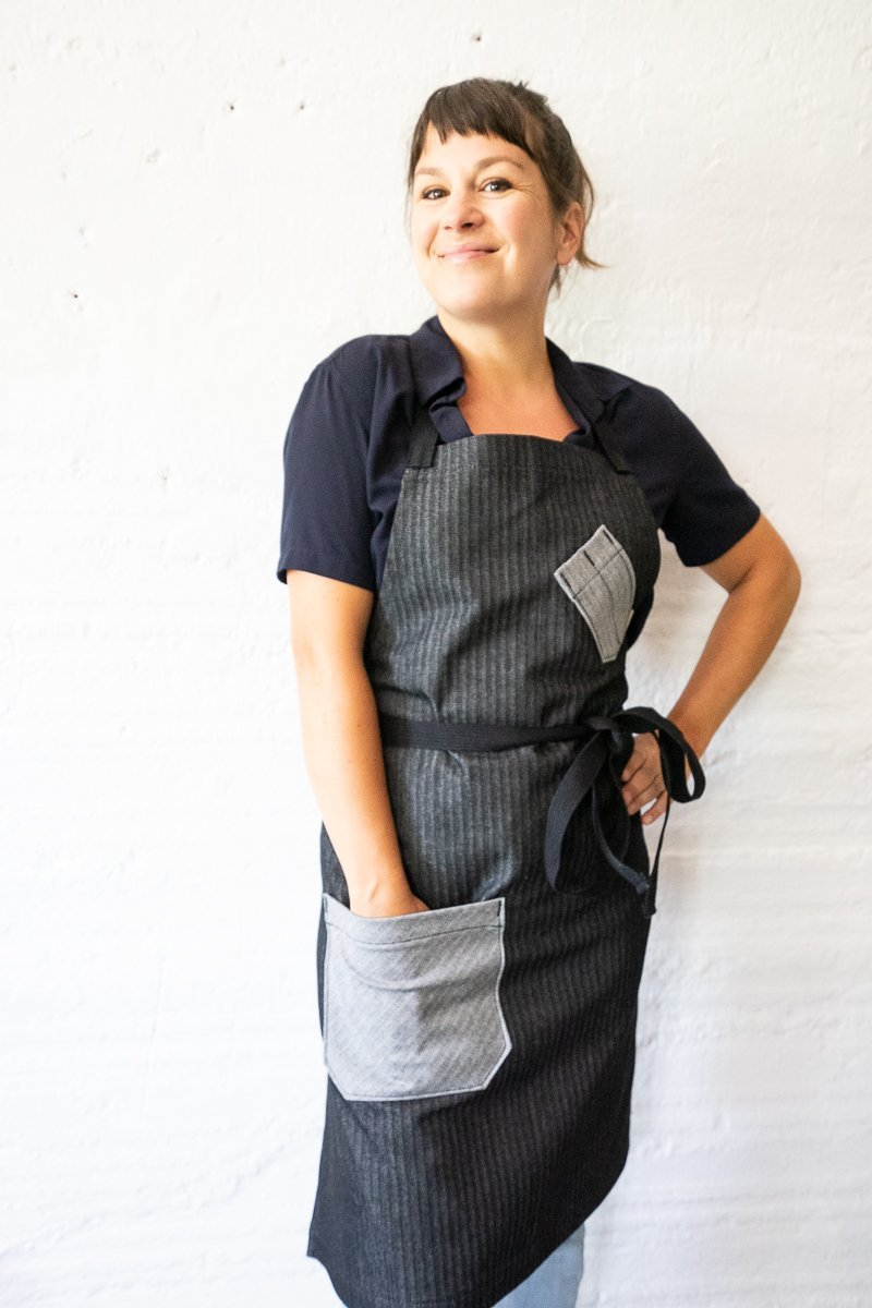 Black & Grey Herringbone Chef Apron - Valentich Goods