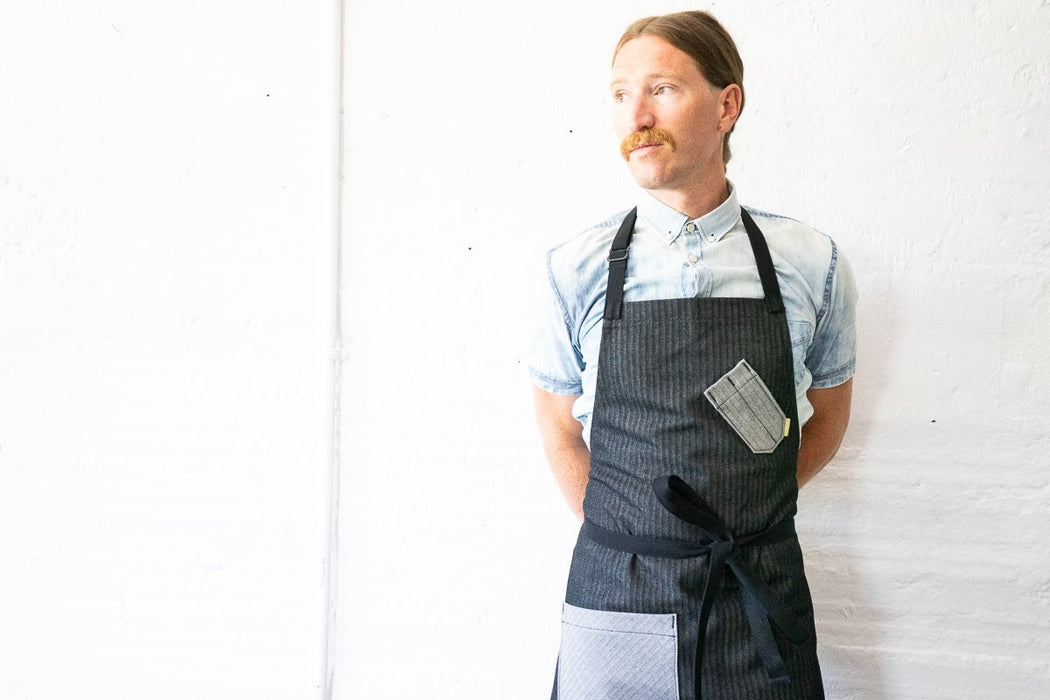 Chef Bib Apron - Black & Grey Herringbone  - Valentich Goods