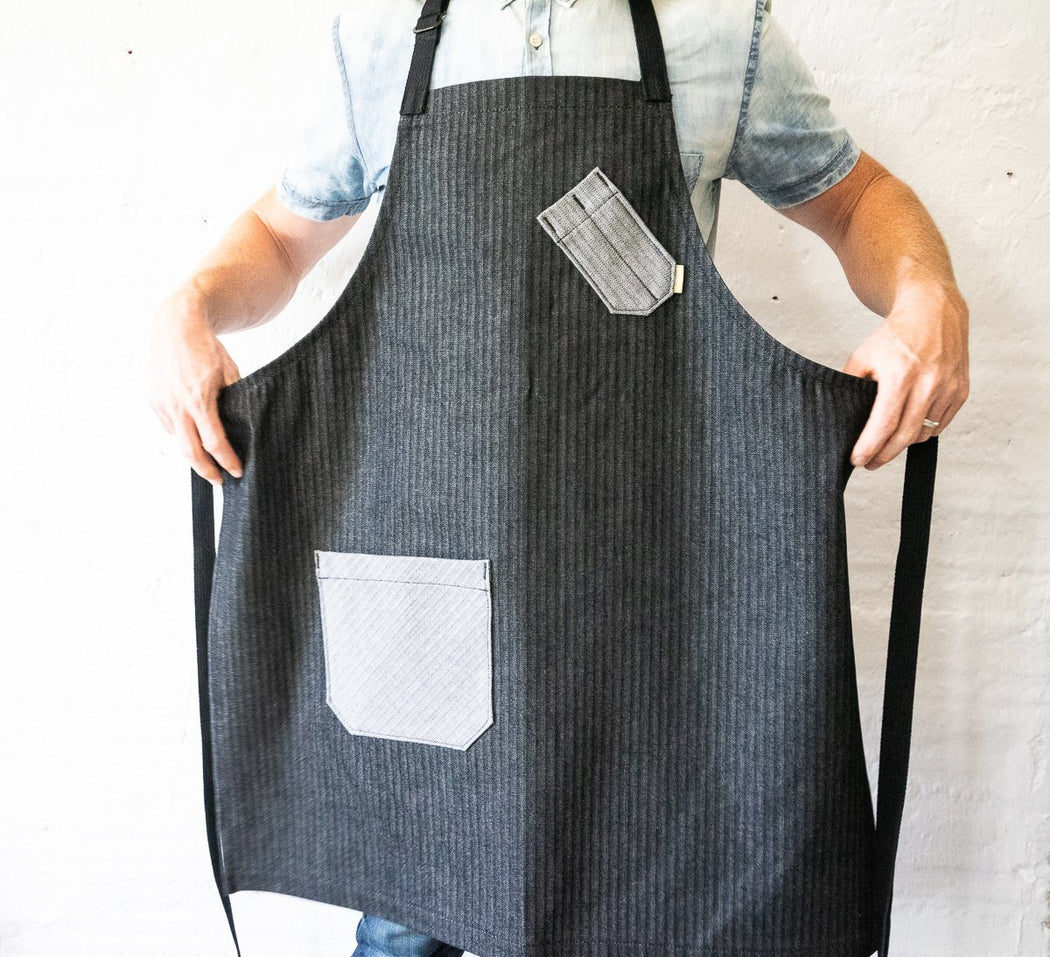 Chef Apron - Black & Grey Herringbone - Valentich Goods