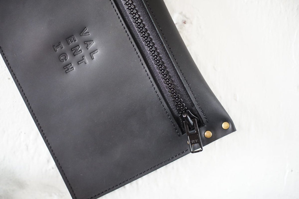 Black Leather Clutch - Valentich Goods