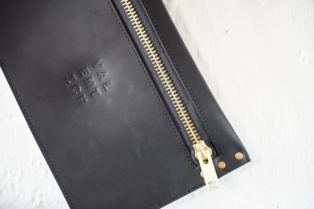 Black Leather Clutch w/ Brass Zip - Valentich Goods