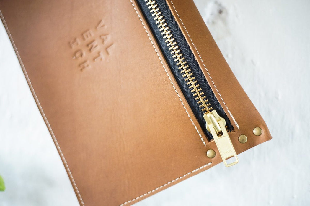 Camel Leather Clutch - Valentich Goods